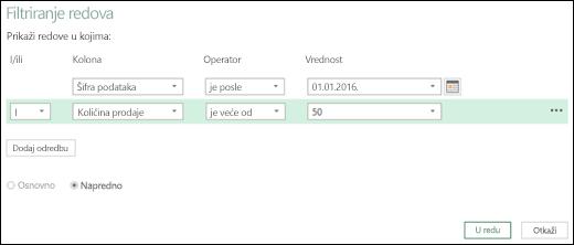 """Excel Power BI – dijalog """"Napredno filtriranje redova"""" u uređivaču upita"""