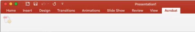 "Dugme ""Kreiraj PDF"" je onemogućeno u programskom dodatku Acrobat PDFMaker u programu PowerPoint 2016 za Mac"