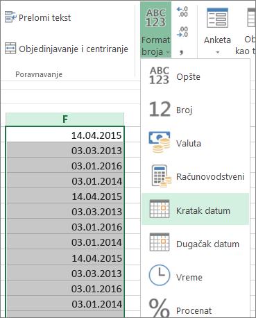promena podataka u kratki format datuma sa trake
