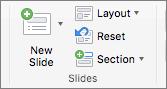 """Snimak ekrana prikazuje grupu """"Slajdovi"""" pomoću opcija """"Novi slajd"""", """"Raspored"""", """"Ponovo postavi"""" i """"Odeljak""""."""