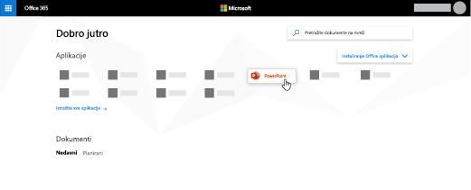Matična stranica za Office 365 sa istaknutom aplikacijom PowerPoint