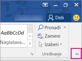 U gornjem desnom uglu ekrana, odaberite stavku Zakači da zakačite na traku na stranicu tako da ostane tamo.