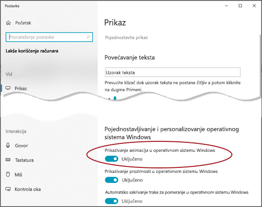 """Meni """"Jednostavan pristup meniju"""" sa istaknutom opcijom """"Prikaži animacije u operativnom sistemu Windows""""."""