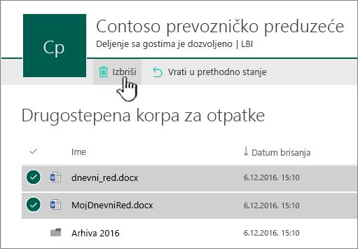 SharePoint Online 2nd nivoa Korpa za sa istaknutim dugmetom za brisanje