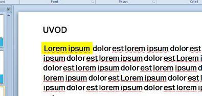 Isticanje teksta simuliranog pomoću boja za popunjeni tekst