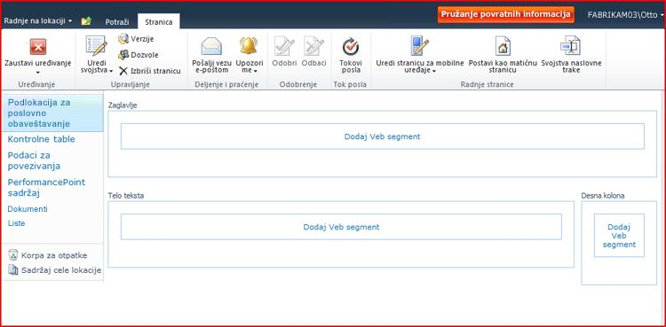 Stranica veb segmenta sadrži zone za dodavanje veb segmenata