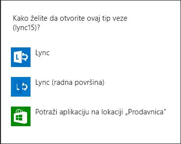 Snimak ekrana Lync obaveštenja za izbor programa