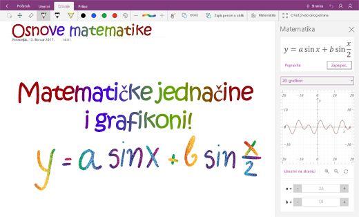 Grafikon matematičkih jednačina u programu OneNote za Windows 10
