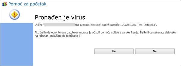 Upozorenje od virusa