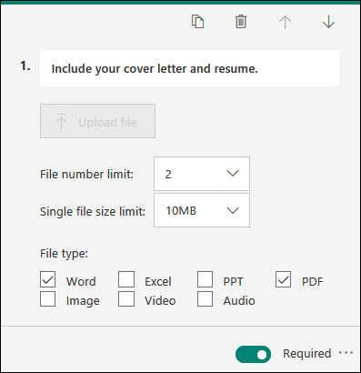 Pitanje koje omogućava otpremanje datoteka sa opcijama ograničenja broja datoteke i ograničenjima veličine jedne datoteke u Microsoft obrascima