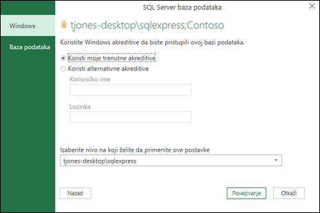 Power Query SQL Server za povezivanje akreditive za prijavljivanje