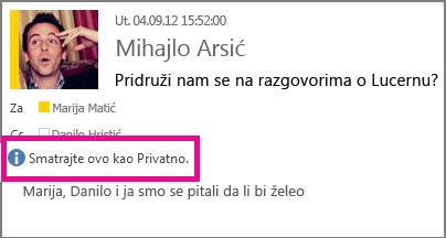 Pojavljuje se poruka sa postavkom privatnosti kada neko otvori vašu e-poruku.