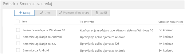 """Snimak ekrana stranice """"Smernice"""""""