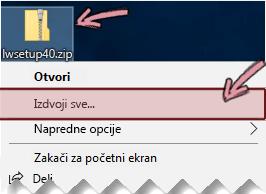 Kliknite desnim tasterom miša na komprimovanu zip datoteku da biste izdvojili datoteku iz nje.
