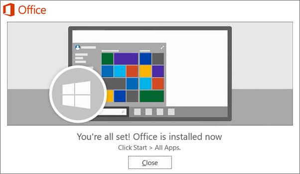"""Office je sada instaliran. Izaberite opciju """"Zatvori"""""""