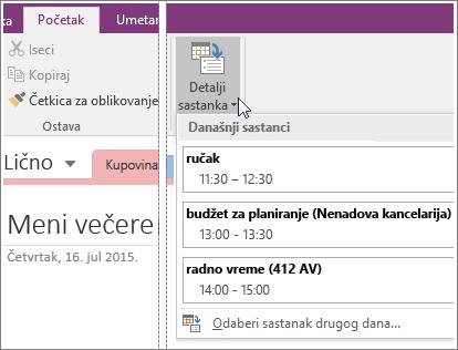 """Snimak ekrana dugmeta """"Detalji sastanka"""" u programu OneNote 2016."""