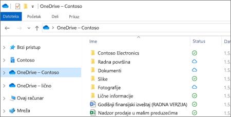 Snimak ekrana OneDrive for Business datoteka u istraživaču datoteka