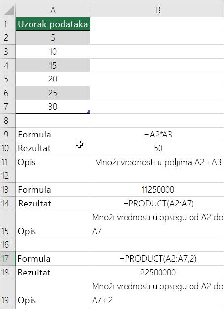 Množenje brojeva pomoću funkcije PRODUCT