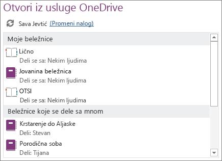 """Snimak ekrana oblasti """"Otvori iz usluge OneDrive"""" stranice """"Otvaranje"""" prikaza """"Backstage""""."""