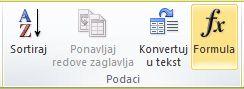 """Grupa """"Podaci"""" na kartici """"Alatke za tabele/Raspored"""" na traci programa Word 2010"""