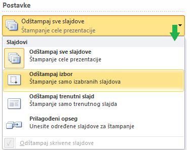 Opcije biranja slajdova za štampanje