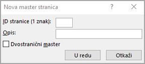 Novi dijalog Master stranice