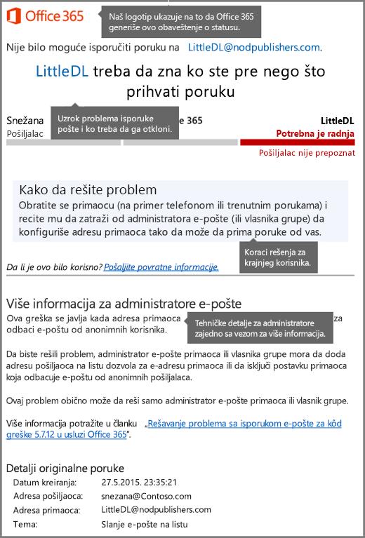 Najnoviji format za obaveštenje o statusu isporuke (DSN) u usluzi Office 365