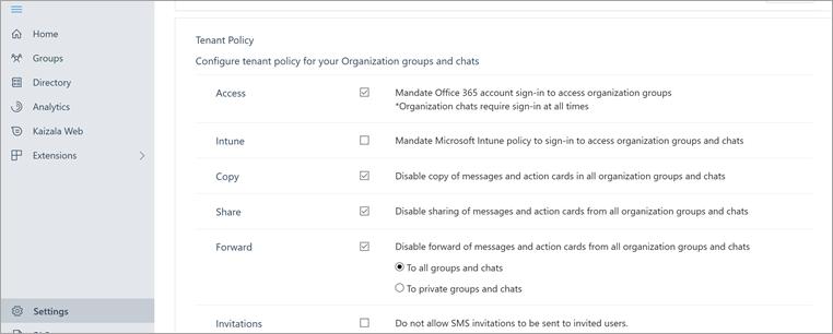 Odeljak politika zakupca na Portizala Management portal