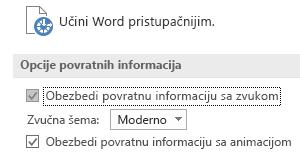 Prikaz dela postavki lakšeg  pristupa u programu Word