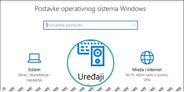 """Izaberite stavku """"Uređaji"""" u dijalogu """"Postavke operativnog sistema Windows"""""""