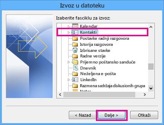"""Čarobnjak za izvoz u programu Outlook – odaberite stavku """"Kontakti"""""""