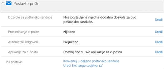 Snimak ekrana: Office 365 postavke pošte