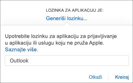 Unesite ime za lozinku aplikacije