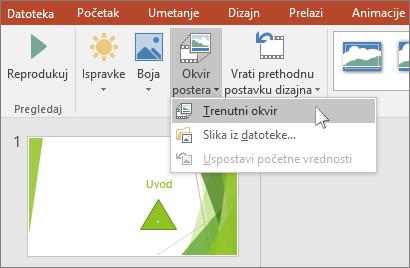 prikazuje opcijom videa okvira postera u programu powerpoint