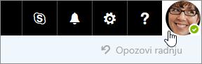 Snimak ekrana slike naloga na traci sa menijima u usluzi Office 365.