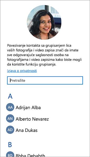 Snimak ekrana liste koju možete da koristite za povezivanje kontakata sa grupama lica.
