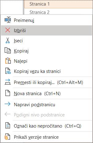 Brisanje stranice u dijalogu programa OneNote za Windows