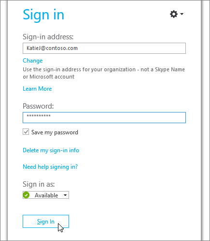 Snimak koji prikazuje gde da unesete lozinku na Skype za posao ekran za prijavljivanje u.