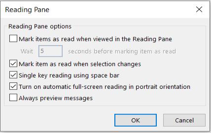 Opcije okna za čitanje