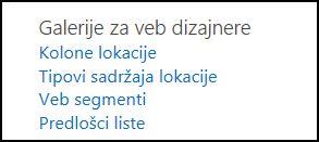"""Opcije u okviru """"Galerije za veb dizajnere"""" na stranici """"Postavke lokacije"""" u sistemu SharePoint Online"""
