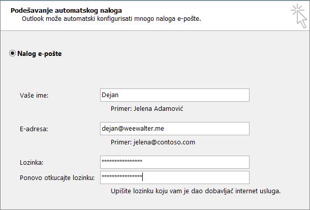 """Unesite lozinku za aplikaciju u oba polja """"Lozinka""""."""