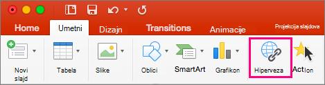 """Prikazuje karticu """"Umetanje"""" u programu PowerPoint 2016 za Mac"""