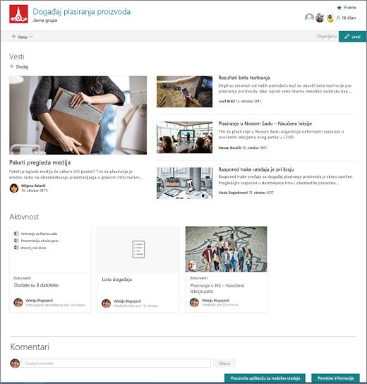 Matična stranica lokacije tima u sistemu SharePoint