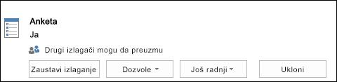 Snimak ekrana uklanjanja stranice ankete