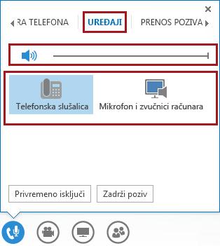 Snimak ekrana menija za upravljanje zvukom tokom sastanka