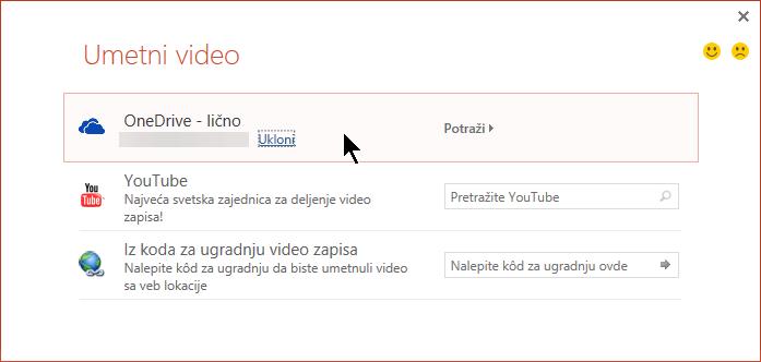 """Dijalog """"Umetni video zapis"""" sadrži opcije za YouTube, Facebook i OneDrive."""