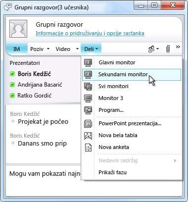 Prozor programa Microsoft Lync sa opcijama za deljenje