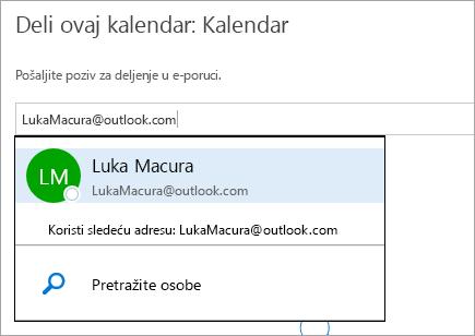 """Snimak ekrana dijaloga """"Deljenje kalendara"""" u usluzi Outlook.com."""