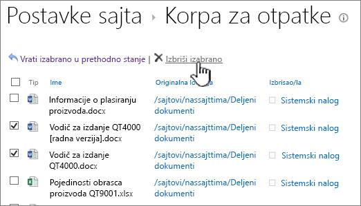 """SharePoint 2013 2 nivoa Korpa za otpatke """"Izbriši"""""""