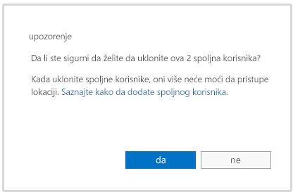 Poruka upozorenja prilikom brisanja naloga spoljnog korisnika